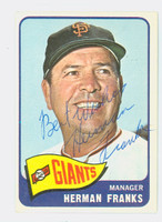 Herman Franks AUTOGRAPH d.09 1965 Topps #32 Giants Salut; card is Ex; ink on reverse