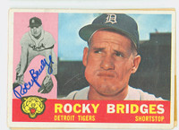Rocky Bridges AUTOGRAPH d.15 1960 Topps #22 Tigers CARD IS VG, AUTO CLEAN