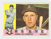 Russ Snyder AUTOGRAPH 1960 Topps #81 Athletics CARD IS F-P; AUTO CLEAN  [SKU:SnydR1377_T60BBL3]