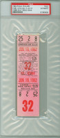 1962 Philadelphia Phillies FULL TICKET vs Chicago Cubs Lou Brock Stolen Base #9 Ken Hubbs Double #11  - June 19, 1962 PSA/DNA Authentic Slabbed