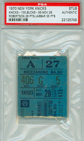 1970 New York Knicks Ticket Stub vs Milwaukee Bucks K.A. Jabbar scored 35 points Oscar Robertson scored 26 points  - November 28, 1970 [Y70_Knic1128S_pa_5] PSA/DNA Authentic