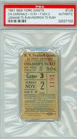 1941 New York Giants Ticket Stub vs Chicago Cardinals Leemans and Morrow TD Rushing - Cardinals 10-7  November 2, 1941 PSA/DNA Authentic
