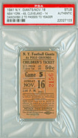 1941 New York Giants Ticket Stub vs Cleveland Browns Dankowski 2 TD passes - Giants 49-14  November 16, 1941 PSA/DNA Authentic