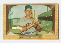 Vic Wertz AUTOGRAPH d.83 1955 Bowman #40 Indians CARD IS VG; AUTO CLEAN