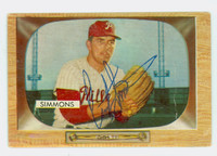 Curt Simmons AUTOGRAPH 1955 Bowman #64 Phillies CARD IS F/P; HEAVY CREASES, AUTO CLEAN
