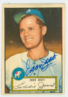 Eddie Joost AUTOGRAPH d.11 1952 Topps #45 Athletics RED BACK CARD IS G/VG; CRN DING, AUTO CLEAN