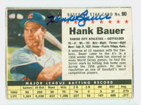 Hank Bauer AUTOGRAPH d.07 1961 Post #90 Athletics BOX CARD IS F/P; HEAVY CREASING, WRT ON REV, PART DETACHED