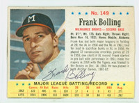 Frank Bolling AUTOGRAPH 1963 Post #149 Braves CARD IS VG/EX; AUTO CLEAN