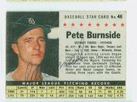 Pete Burnside AUTOGRAPH 1961 Post #46 Tigers BOX CARD IS F/P; HEAVY CREASING, WRT ON REV, AUTO CLEAN