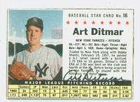 Art Ditmar AUTOGRAPH 1961 Post #16 Yankees BOX CARD IS CLEAN EX