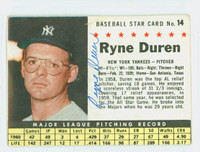 Ryne Duren AUTOGRAPH d.11 1961 Post #14 Yankees BOX CARD IS VG/EX; AUTO CLEAN