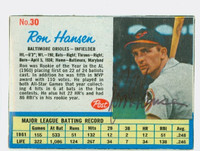 Ron Hansen AUTOGRAPH 1962 Post #30 Orioles CARD IS EX; # WRT ON REV