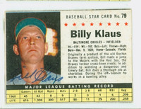 Billy Klaus AUTOGRAPH d.06 1961 Post #79 Orioles BOX CARD IS VG/EX; AUTO CLEAN