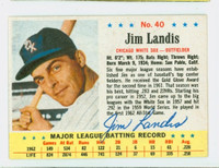 Jim Landis AUTOGRAPH 1963 Post #40 White Sox CARD IS VG/EX; AUTO CLEAN