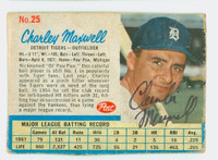Charley Maxwell AUTOGRAPH 1962 Post #25 Tigers CARD IS F/P; HEAVY CREASING, AUTO CLEAN