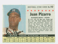 Juan Pizarro AUTOGRAPH 1961 Post #112 Braves BOX CARD IS VG; WRT ON REV
