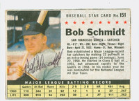 Bob Schmidt AUTOGRAPH 1961 Post #151 Giants BOX CARD IS VG; AUTO CLEAN