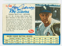 Roy Sievers AUTOGRAPH d.18 1962 Post #46 White Sox CARD IS F/G; PIN HOLE