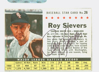 Roy Sievers AUTOGRAPH d.18 1961 Post #26 White Sox BOX CARD IS CLEAN EX