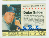 Duke Snider AUTOGRAPH d.11 1961 Post #167 Dodgers BOX CARD IS VG; AUTO CLEAN