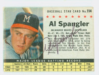 Al Spangler AUTOGRAPH 1961 Post #114 Braves BOX CARD IS F/P; HEAVY CREASING