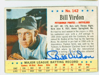 Bill Virdon AUTOGRAPH 1963 Post #142 Pirates CARD IS VG/EX; AUTO CLEAN