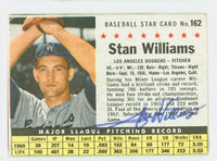 Stan Williams AUTOGRAPH 1961 Post #162 Dodgers BOX CARD IS VG; AUTO CLEAN