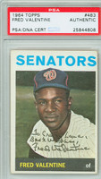Fred Valentine AUTOGRAPH 1964 Topps #483 Senators PSA/DNA Card is clean Vg/Ex; PERS
