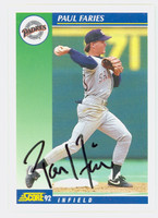 Paul Faries AUTOGRAPH 1992 Score Padres 