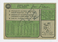 Jim Palmer AUTOGRAPH 1974 Topps Back Signed #40 Orioles 