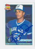 Kenny Williams AUTOGRAPH 1991 Topps Blue Jays 