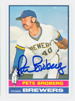 Pete Broberg AUTOGRAPH 1976 Topps #39 Brewers 