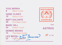 Les Moss AUTOGRAPH d.12 Mother's Cookies Back Signed 1988 Astros 