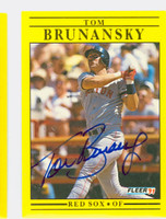 Tom Brunansky AUTOGRAPH 1991 Fleer Red Sox 