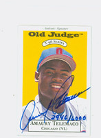Amaury Telemaco AUTOGRAPH 1996 Signature T-96 Old Judge Design Autograph Issue Cubs CERTIFIED 