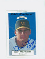 Don Wengert AUTOGRAPH 1996 Signature T-96 Old Judge Design Autograph Issue Athletics CERTIFIED   [SKU:WengD13809_SIGN96Nxce]