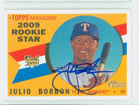 Julio Borbon AUTOGRAPH 2009 Topps Heritage 1960 Topps Design Rangers 