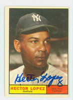 Hector Lopez AUTOGRAPH 1961 Topps #28 Yankees CARD IS VG; AUTO CLEAN