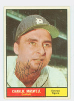 Charlie Maxwell AUTOGRAPH 1961 Topps #37 Tigers CARD IS VG/EX; AUTO CLEAN