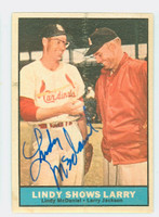 Lindy McDaniel AUTOGRAPH 1961 Topps Lindy Shows Larry #75 Cardinals CARD IS VG/EX; AUTO CLEAN  [SKU:McDaL1507_T61BBC1Cpl]