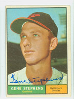 Gene Stephens AUTOGRAPH d.19 1961 Topps #102 Orioles CARD IS VG; AUTO CLEAN