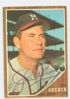 Joe Adcock AUTOGRAPH d.99 1962 Topps #265 Braves CARD IS CLEAN EX