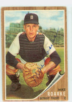 Mike Roarke AUTOGRAPH d.19 1962 Topps #87 Tigers CARD IS VG; CRN WEAR, AUTO CLEAN