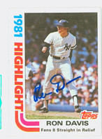 Ron Davis HL AUTOGRAPH 1982 Topps #2 Yankees Highlight 
