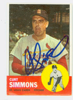 Curt Simmons AUTOGRAPH 1963 Topps #22 Cardinals CARD IS VG; LT SNOW, AUTO CLEAN