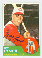 Jerry Lynch AUTOGRAPH d.12 1963 Topps #37 Reds CARD IS VG/EX; AUTO CLEAN