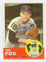 Terry Fox AUTOGRAPH 1963 Topps #44 Tigers CARD IS VG; AUTO CLEAN