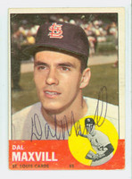 Dal Maxvill AUTOGRAPH 1963 Topps #49 Cardinals CARD IS G/VG, CREASES; AUTO CLEAN