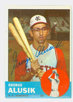George Alusik AUTOGRAPH d.18 1963 Topps #51 Athletics CARD IS VG/EX; AUTO CLEAN