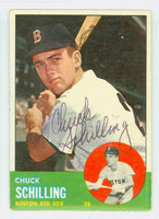 Chuck Schilling AUTOGRAPH 1963 Topps #52 Red Sox CARD IS VG; AUTO CLEAN
